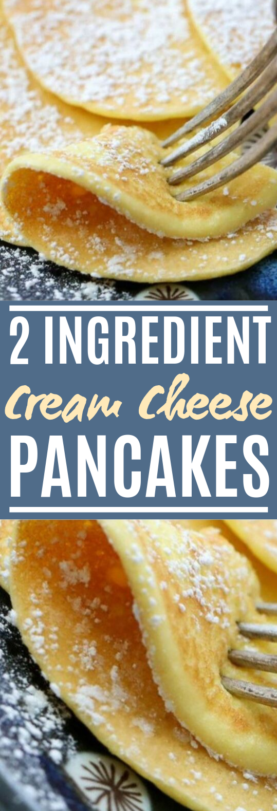 2-Ingredient Cream Cheese Pancakes #healthy #breakfast