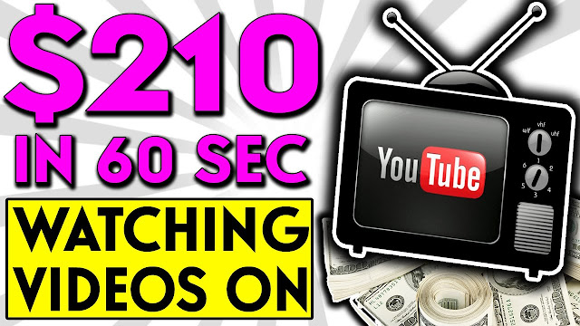 EARN $210.00 IN 60 SECONDS ONLINE: HOW TO MAKE MONEY WATCHING YOUTUBE VIDEO