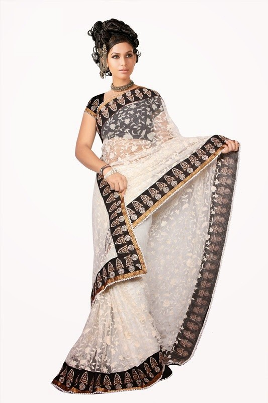 Lace Work Off #White & Black Net #Saree For #Navratri Moksha Fashions