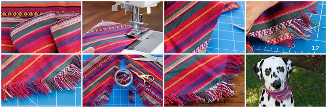 Step-by-step making a fringed dog bandana for Cinco de Mayo