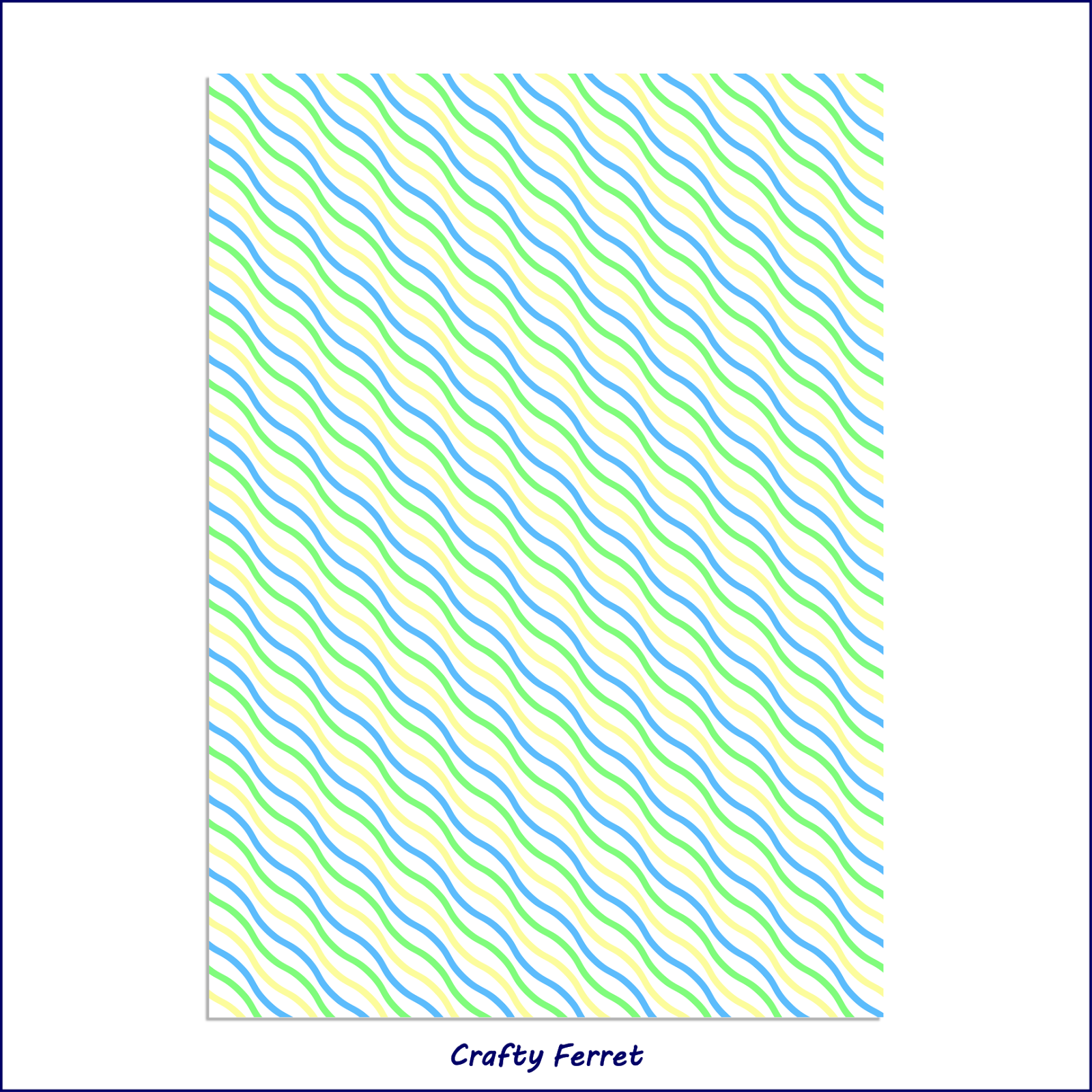 A4 printable turquoise green and yellow diagonal waves craft backing paper.