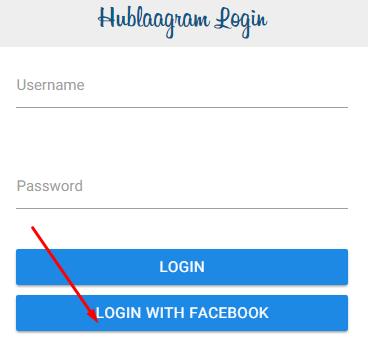 Cara login Hublaagram menggunakan facebook