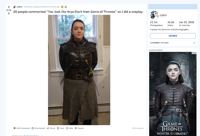 Arya Cosplay side by side comparison