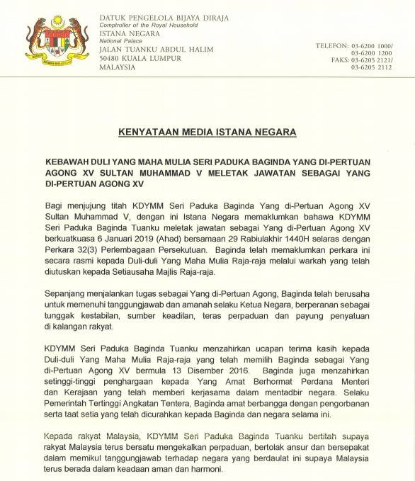 Agong resigned