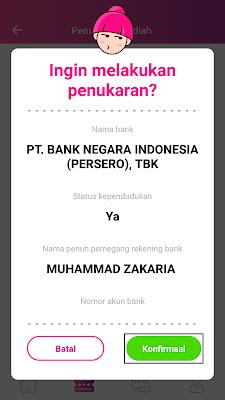 mencairkan uang gratis dari aplikasi JAG Android