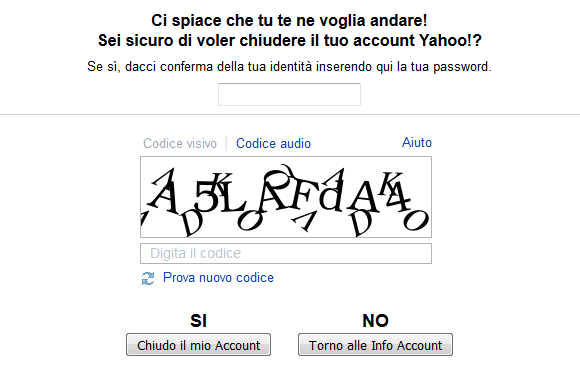 Form per chiudere l'account Yahoo