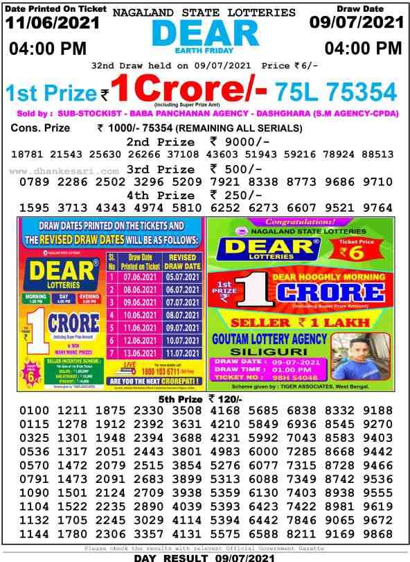 lottery sambad 9 7 2021 4pm