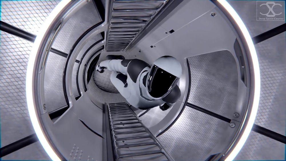 SpaceX's Starship interior concept by DeepSpaceCourier - Central hallway