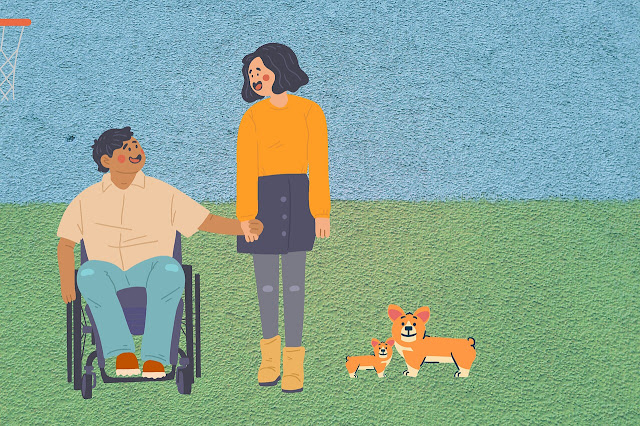 Cartoonish graphic of a man in a wheelchair holding the hand of an able bodied woman with two corgis in the grass in front of them