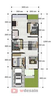 Denah rumah 6x12 3 kamar tidur 1 lantai