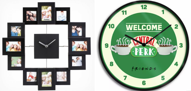 A clock surrounded by photos and a Friends the TV show clock.