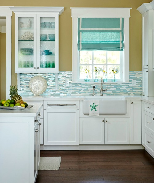Turquoise blue white beach theme kitchen paradise for Tropical themed kitchen