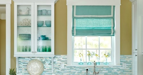 Turquoise Blue White Beach Theme Kitchen