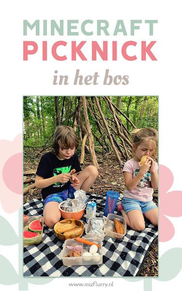 Minecraft picknick in het bos - Pinterest afbeelding