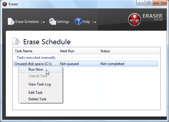 Download Eraser Portable PC Software Securely Delete Personal Files