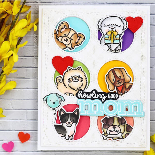 Sunny Studio Stamps: Party Pups Customer Card by Nina-Marie Trapani