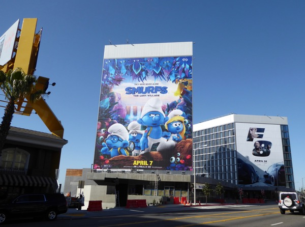 Giant Smurfs Lost Village movie billboard