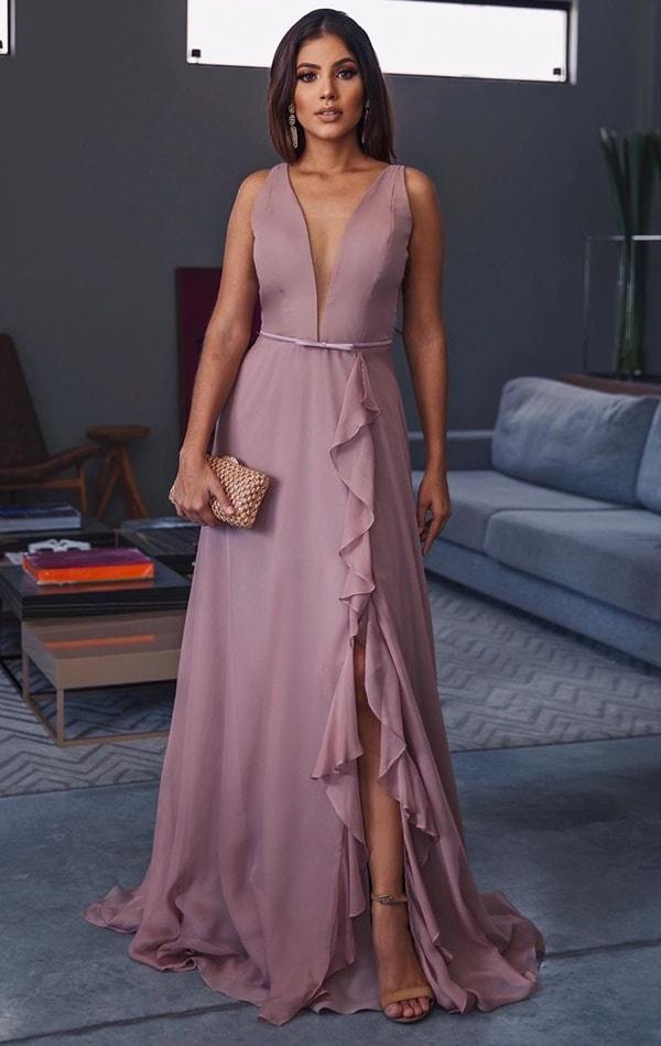 vestido rosa fluido para madrinha de casamento
