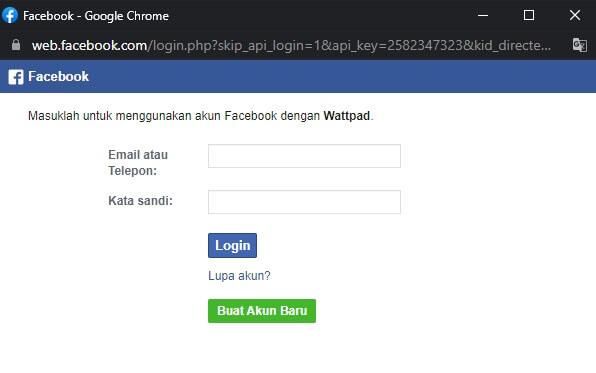 login wattpad menggunakan facebook
