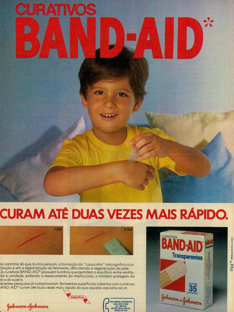 Propaganda antiga da Band-Aid veiculada nos anos 80 promovendo sua linha de curativos
