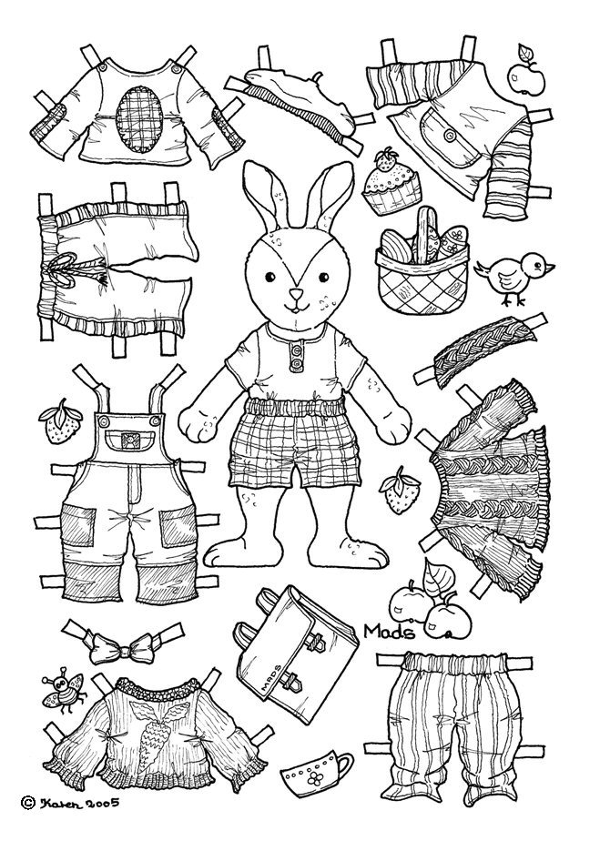 Karen`s Paper Dolls: Mads 1-2 Paper Doll to Colour. Mads 1