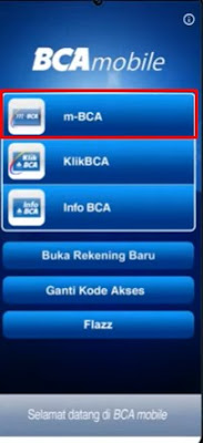 Screenshot Tampilan Awal Di Aplikasi m-BCA