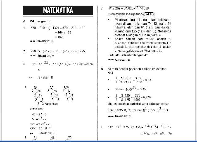 Pembahasan Soal Latihan USBN Matematika Kelas VI SD/MI, https://bloggoeroe.blogspot.com/