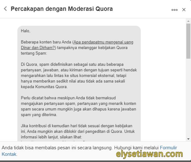 contoh teguran moderator quora