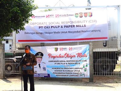Sinar Mas Serahkan Bantuan Oksigen Cair ke Pemprov Lampung
