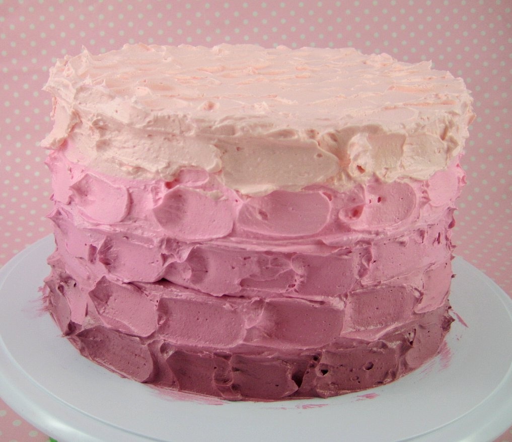 Bubble And Sweet Easy Pink Ombre Butter Cream Frosting Cake Tutorial For Real People