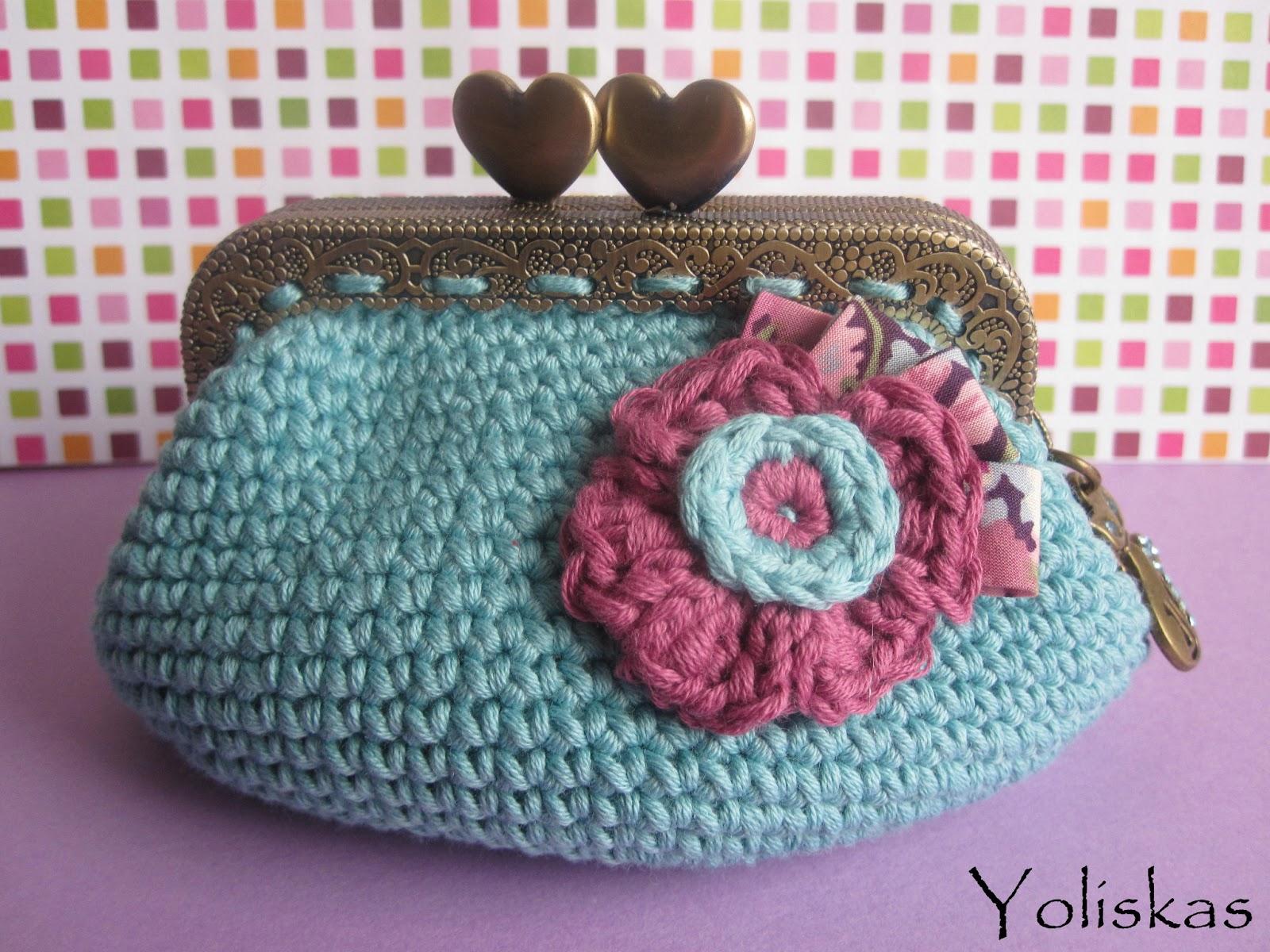 comprar genuino mejor sitio web entrega gratis Monedero crochet con boquilla rectangular de corazones ...