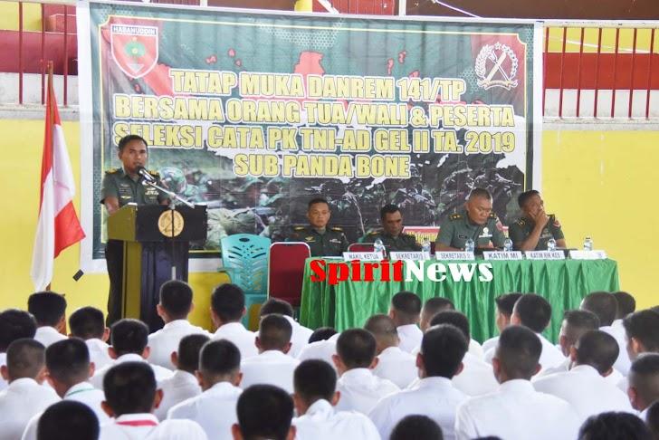 Sub Panda Bone Seleksi Cata Pk TNI AD Gel II TA 2019 Tatap Muka Dengan Orang Tua/Wali Peserta Seleksi