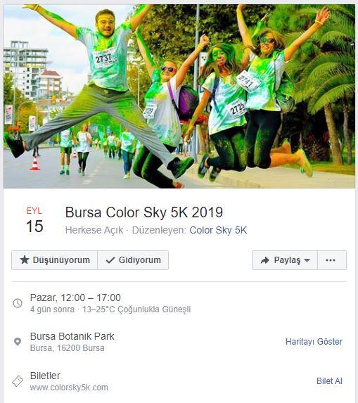 Bursa Color Sky 5K, 15 Eylül'de Botanik Park'ta!