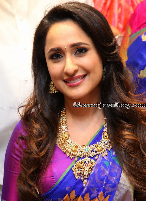 Pragya Jaiswal in Peacock Pachi Necklace