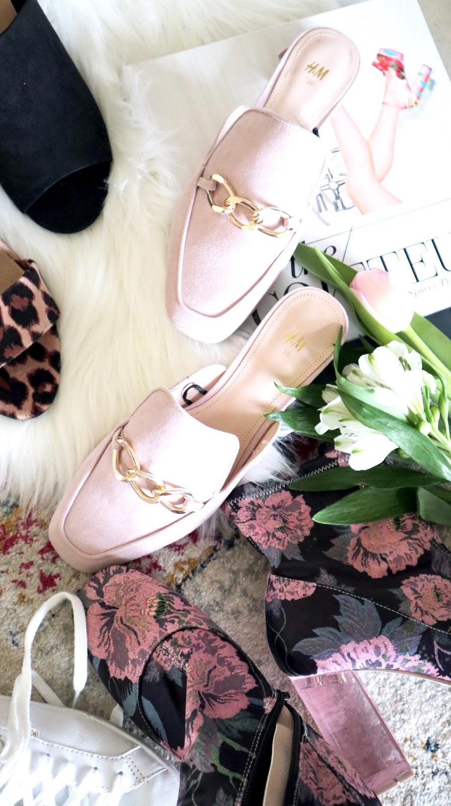 H&M pink slides, pink lucite heel booties, black