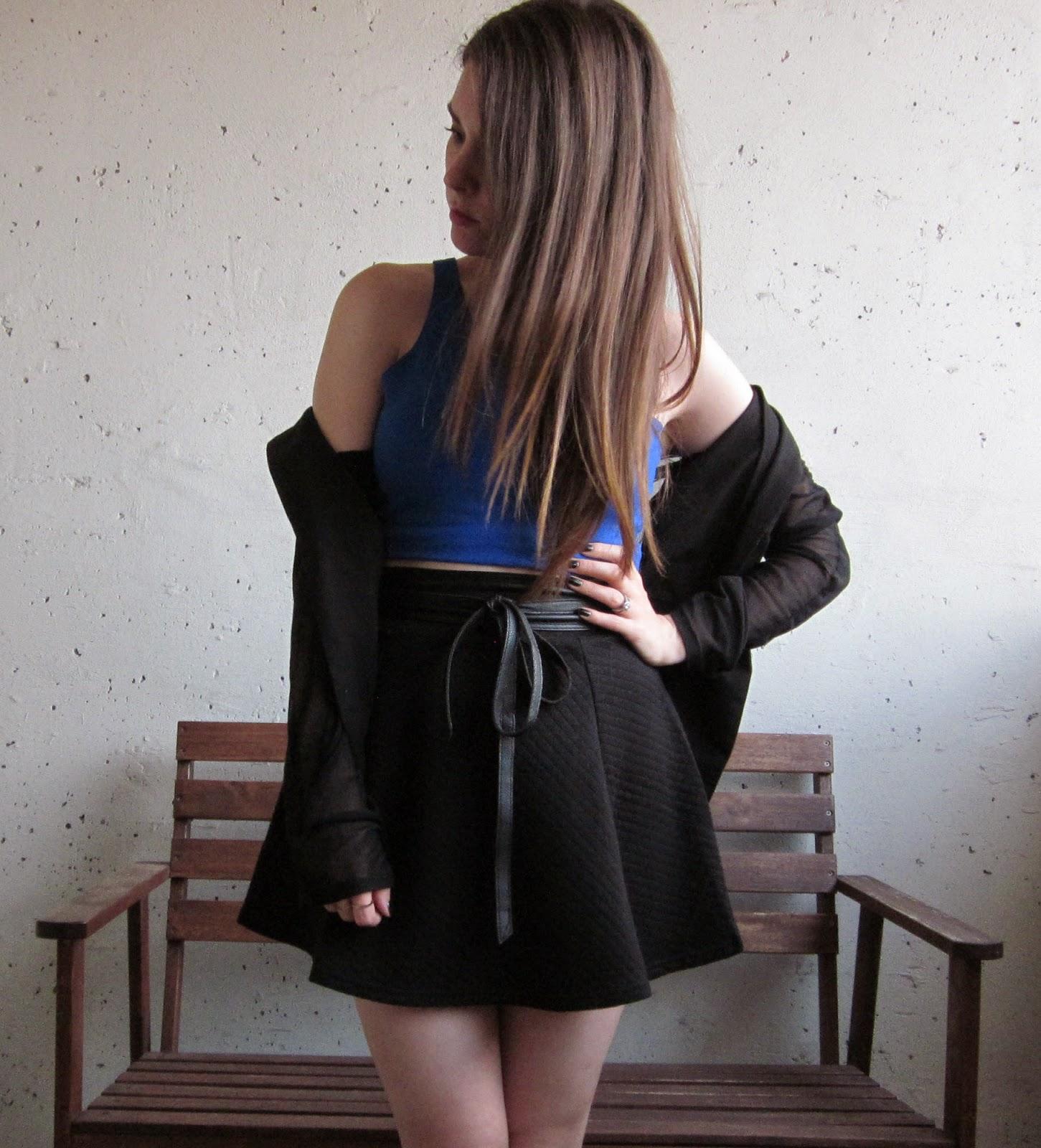 Royal Blue Crop Top and Black Mini Skirt