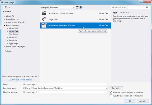 Application de bureau Windows en C++