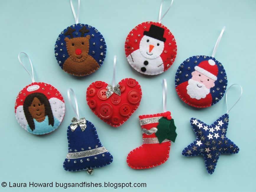 Bugs and Fishes by Lupin All 8 Free Felt Christmas Ornament Tutorials - felt christmas decorations