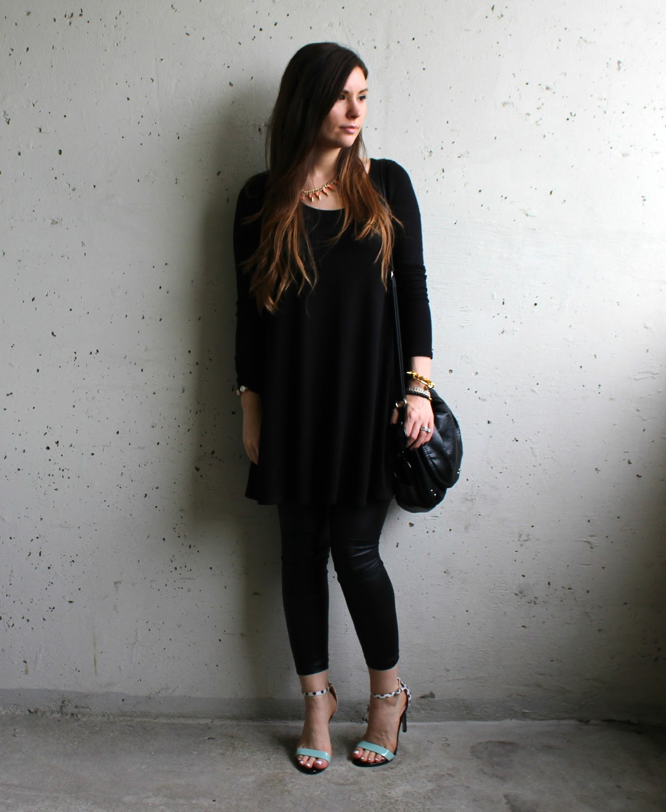 Strappy heels, black cotton dress, black leather pants, H&M Purse
