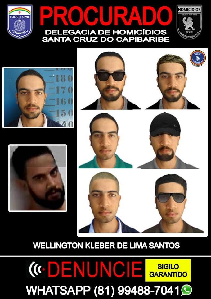 Procurado: Policia Civil Divulga Retrato Falado de Wellington Kleber suspeito da morte de dois militares em Santa Cruz do Capibaribe