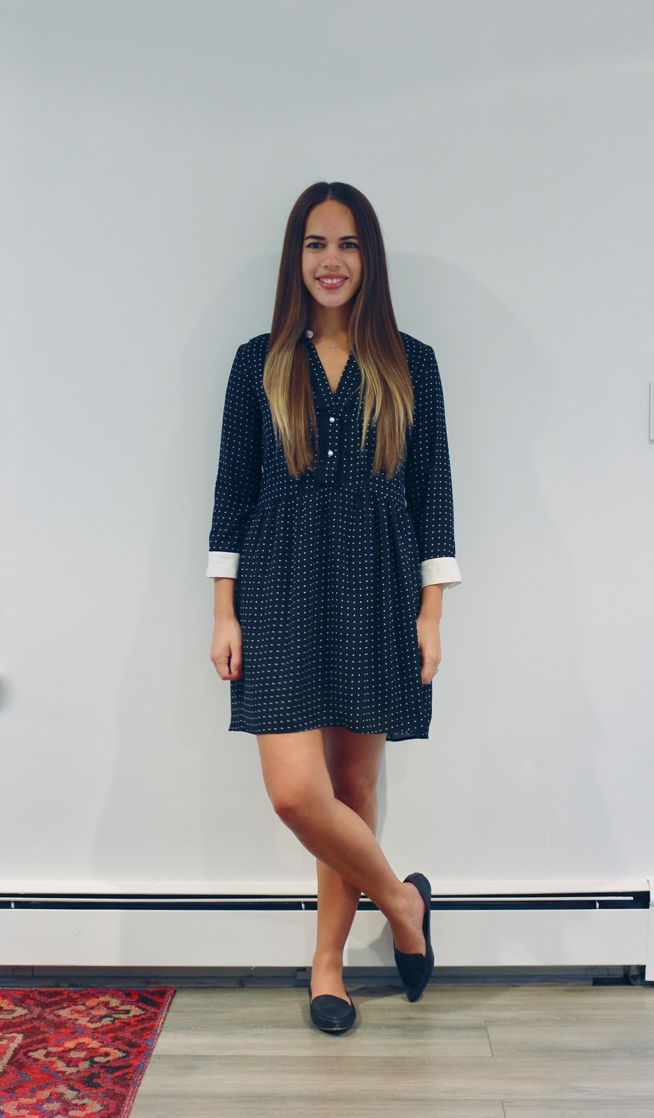 Jules in Flats - Contrast Collar Polka Dot Mini Dress (Business Casual Workwear on a Budget)