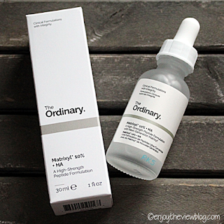 Bottle of Matrixyl 10% + HA from The Ordinary along with the box it comes in