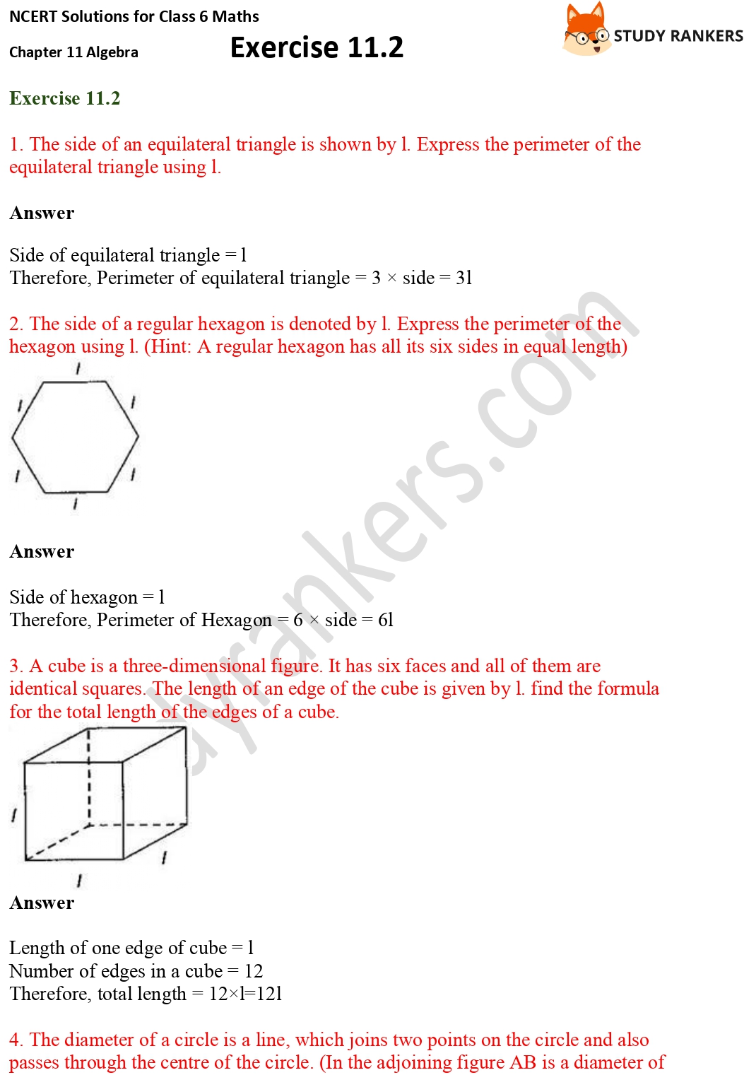 NCERT Solutions for Class 6 Maths Chapter 11 Algebra Exercise 11.2 Part 1
