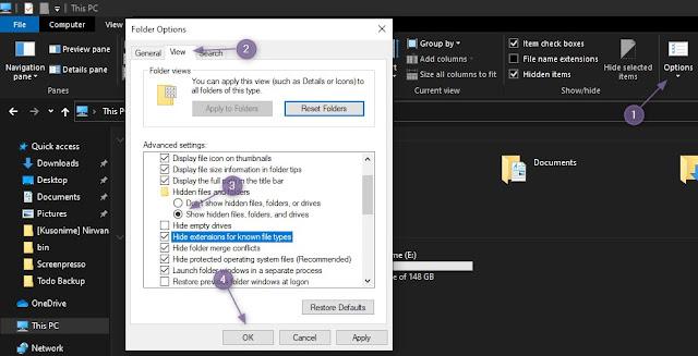 Cara Menampilkan Ekstensi File Menggunakan Folder Options