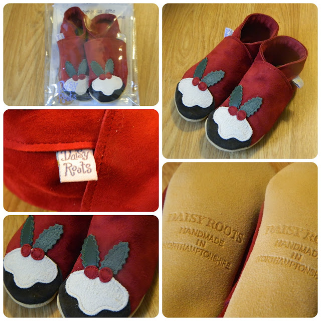 Daisy Root Christmas Pudding Baby Slippers Suede Shoes Red