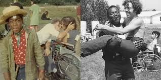 Two stills from Crip Camp film. 1. Young black boy wearing cowboy hat grins in to the camera while two white campers, both wheelchair users, make out behind him. 2. One black camp counselor is carrying white shirtless camper in an open field. Both have hippie hair.
