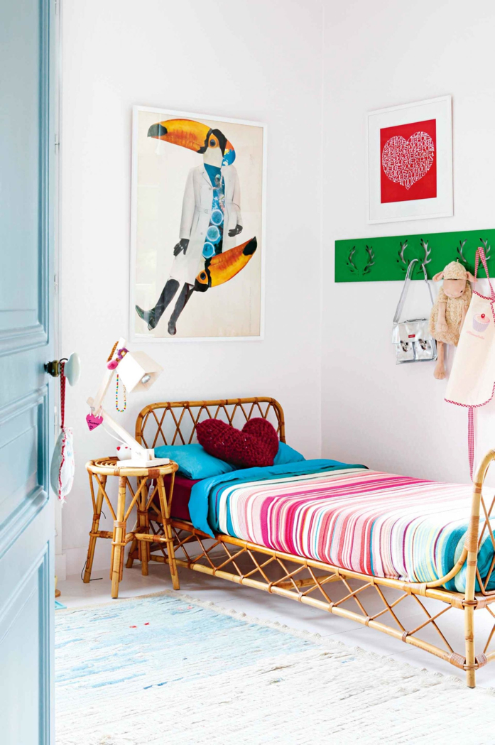 Rattan Furniture and Whimsical Art in Kids' Room