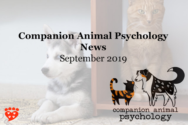 Don't miss the latest Companion Animal Psychology News September 2019