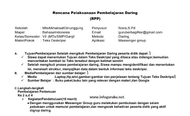 Download Rpp Daring Bahasa Indonesia Kelas 7 Tahun 2020 Infoguruku