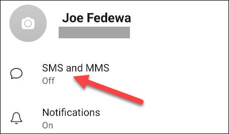 حدد SMS و MMS